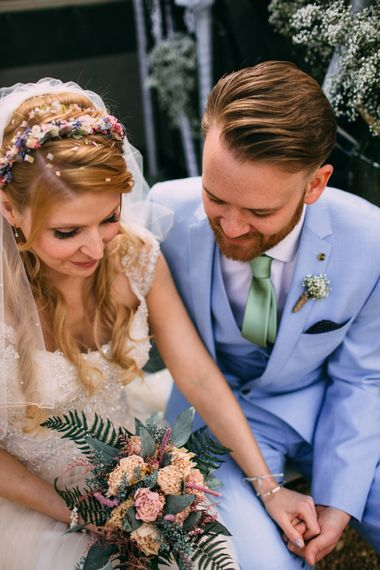 Bride with Folky Dokey Dried Flower Crown