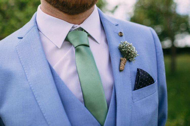 Blue Three Piece Suit, Pastel Green Tie & Buttonhole