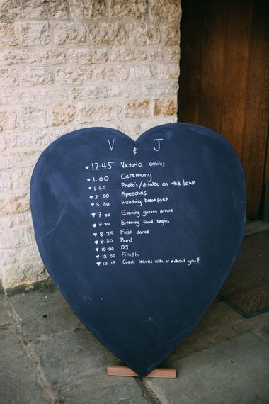 Blackboard Heart Order of The Day Sign