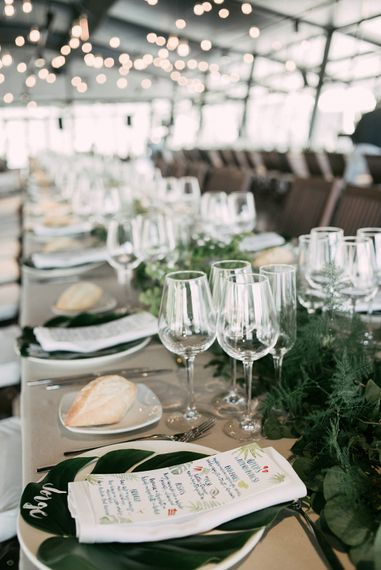Elegant Table Setting With Foliage