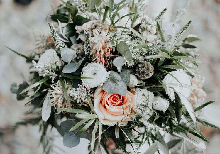 Sage Green & Peach Wedding Bouquet