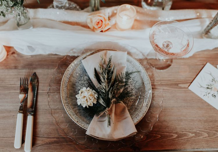 Rustic Luxe Place Setting For Wedding