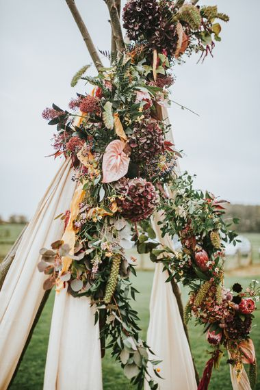 Naked Tipi Wedding Altar & Hay Bale Seating For Wedding Ceremony