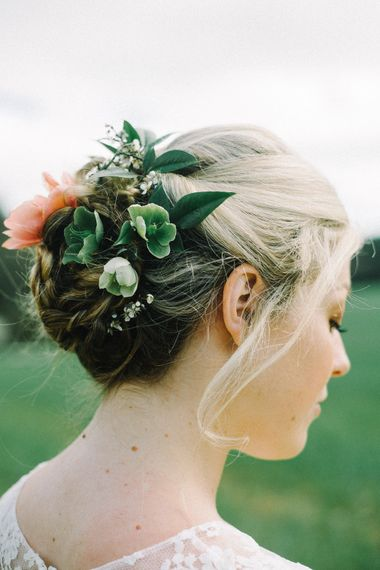 Floral Adorned Bridal Up Do by Hair by Emma C | Images by Olivia Bossert Photography |