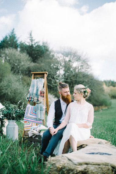Wild Tipi Bell Tent with Bride in Claire L Headdon Bridal Gown | Images by Olivia Bossert Photography |