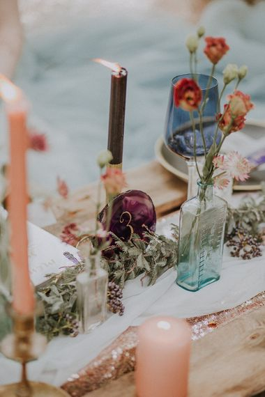Candle Sticks & Flower Stems in Bottles Wedding Decor | Styling by The White Emporium | Woodland Bohemian Luxe Inspiration | Lola Rose Photography & Film