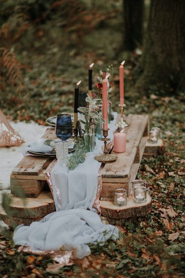 Tablescape with Candle Sticks | Styling by The White Emporium | Woodland Bohemian Luxe Inspiration | Lola Rose Photography & Film