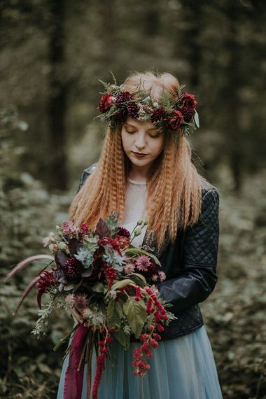 Bride in Leather Jacket, Crimped Hair & Flower Crown | Woodland Bohemian Luxe Inspiration | Lola Rose Photography & Film