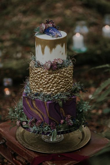 Honey Bee Bakes Purple & Gold Wedding Cake | Woodland Bohemian Luxe Inspiration | Lola Rose Photography & Film