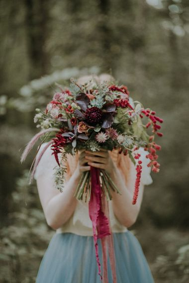 Burgundy & Green Bridal Bouquet | Woodland Bohemian Luxe Inspiration | Lola Rose Photography & Film