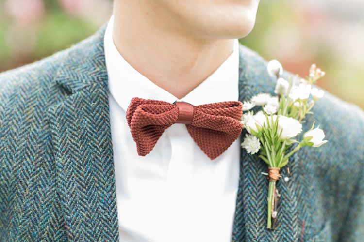Tweed Jacket, Bow Tie & Buttonhole | Bowtie and Belle Photography