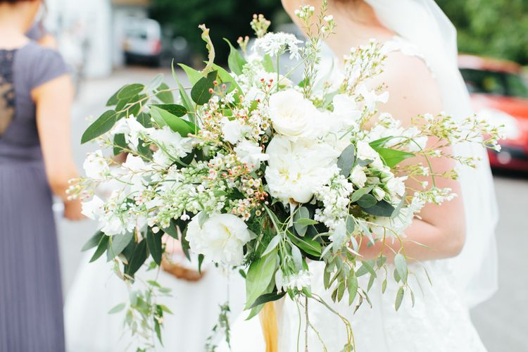 Organic White & Greenery Bouquet | Bowtie and Belle Photography