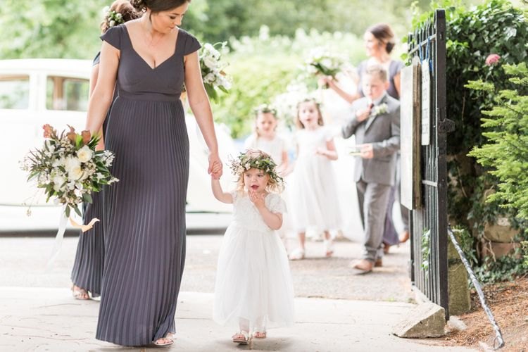 Bridesmaid & Flower Girl | Church Entrance | Bowtie and Belle Photography