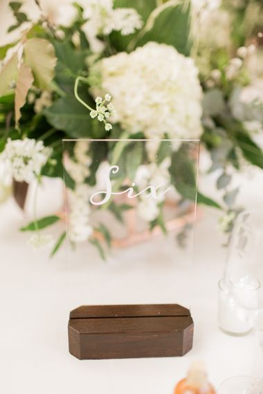 Perspex Table Numbers | Greenery & White Marquee Wedding at The Villa, Levens with Copper Details | Bowtie and Belle Photography