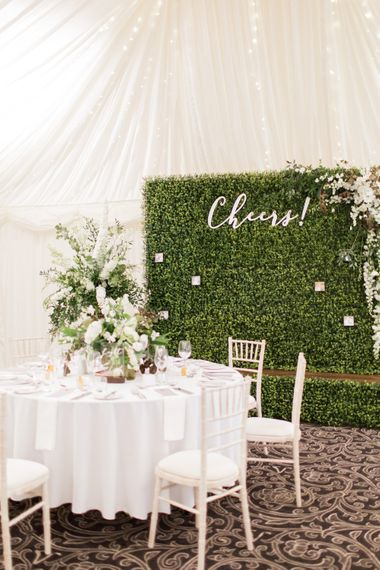 Faux Hedge Backdrop | Greenery & White Marquee Wedding at The Villa, Levens with Copper Details | Bowtie and Belle Photography