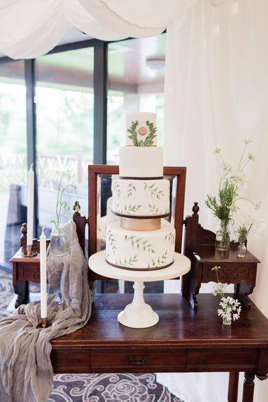 Elegant White, Green & Copper Wedding Cake