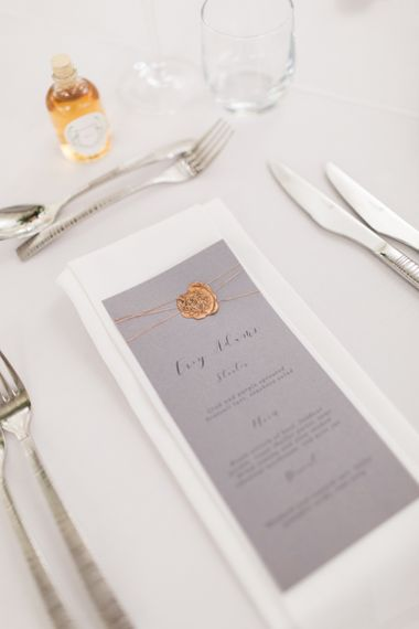 Grey Menu Card with Copper Wax Seal | Greenery & White Marquee Wedding at The Villa, Levens with Copper Details | Bowtie and Belle Photography