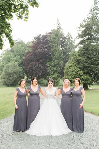 Bridesmaids in Lace Back ASOS Grey Dresses | Greenery & White Marquee Wedding at The Villa, Levens with Copper Details | Bowtie and Belle Photography