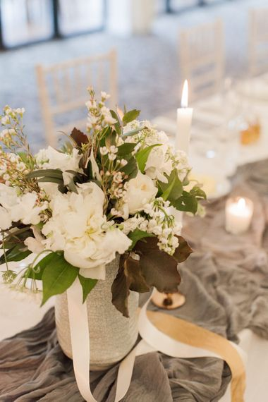 Floral Centrepiece | Greenery & White Marquee Wedding at The Villa, Levens with Copper Details | Bowtie and Belle Photography