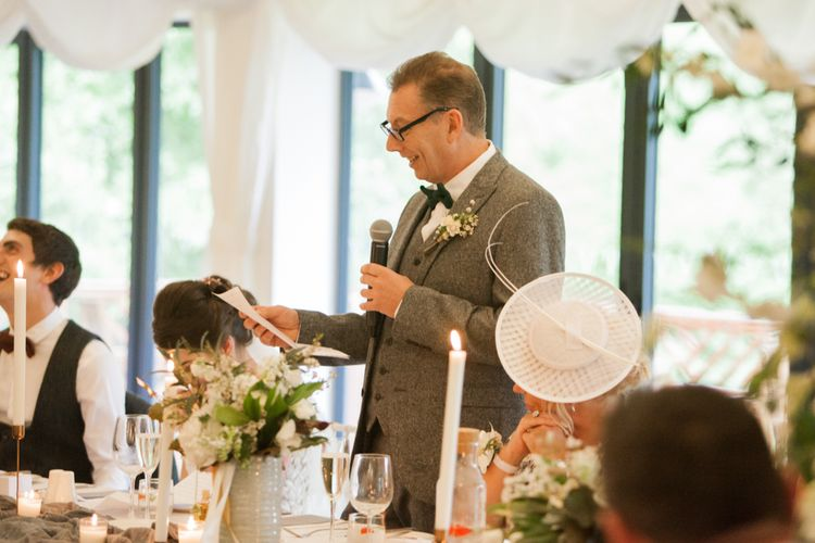 Speeches | Greenery & White Marquee Wedding at The Villa, Levens with Copper Details | Bowtie and Belle Photography