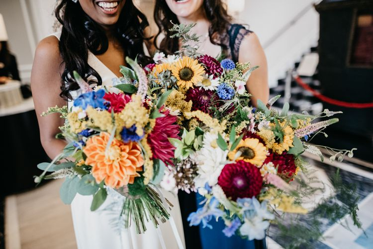 Brightly Colour Wild Flower Dahlia Bouquets | Andrew Brannan Photography