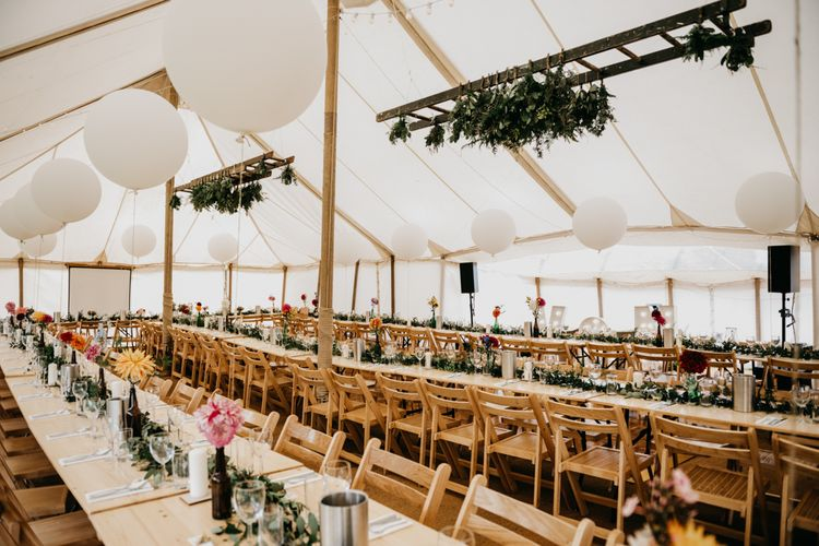 Marquee Wedding | Trestle Tables | Balloons | Hanging Greenery Installations | Andrew Brannan Photography