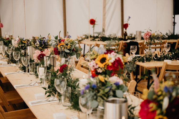 Wild Flowers Centrepieces | Marquee Wedding | Trestle Tables | Andrew Brannan Photography