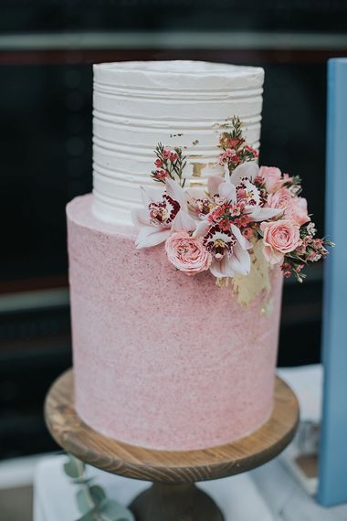 Pink & White Iced Wedding Cake By The Sparkling Spatula