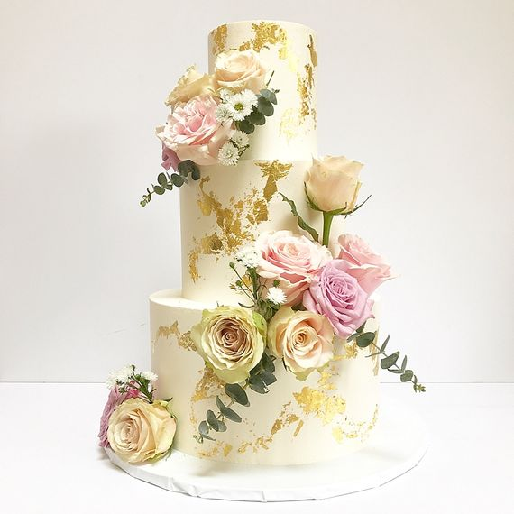 White & Gold Buttercream Wedding Cake With Fresh Flowers By Gaya's Cakes