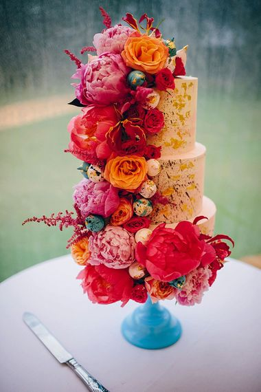 Peony Covered Wedding Cake By Little Button Bakery