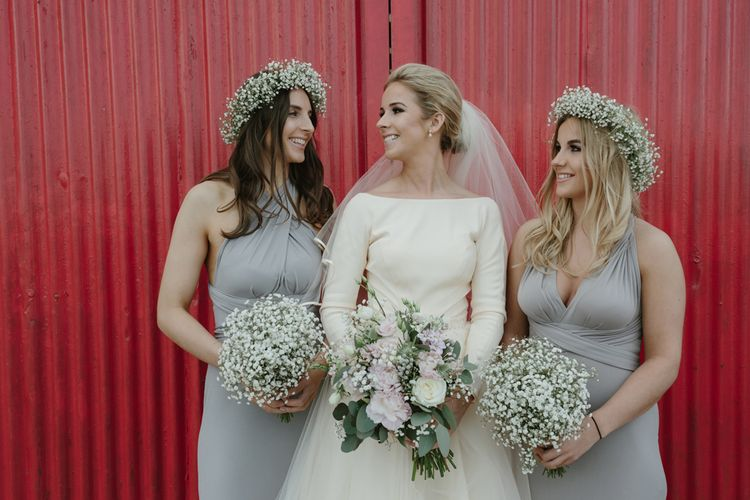 Bridesmaids in Grey Dresses from ASOS with Gypsophila Bouquets & Flower Crowns