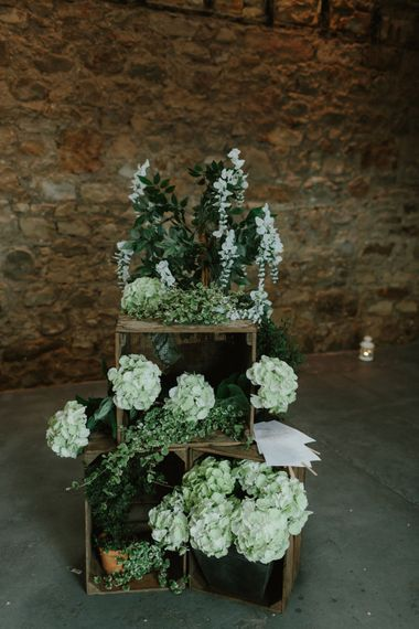 Rustic Wooden Crates & White Flower Wedding Decor