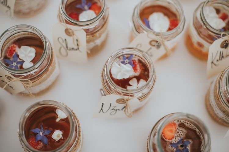 Pimms in Jam Jars with Edible Flowers
