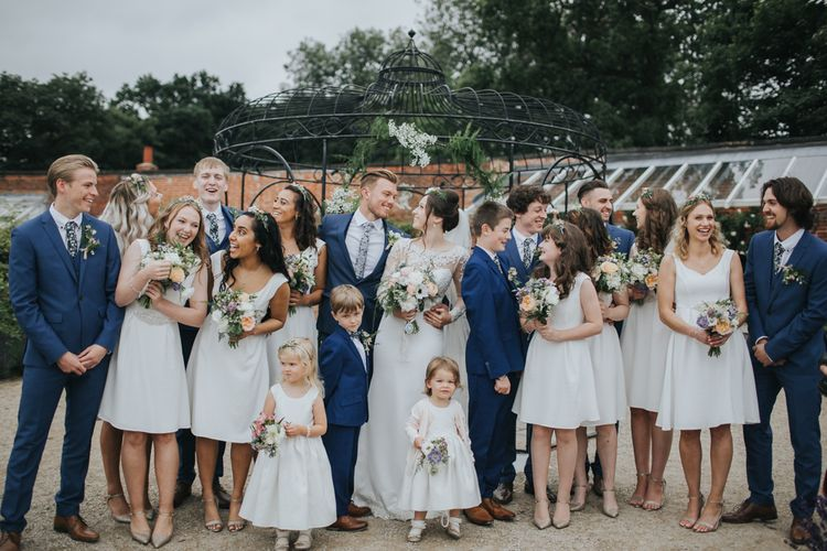 Wedding Party In White & Blue