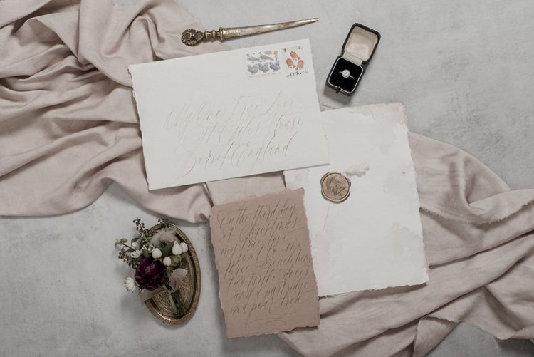 Calligraphy Wedding Stationery Suite with Wax Seal and Letter Opener
