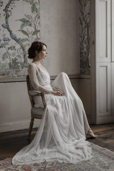 Beautiful Bride in Slip Wedding Dress with Tulle Overlay