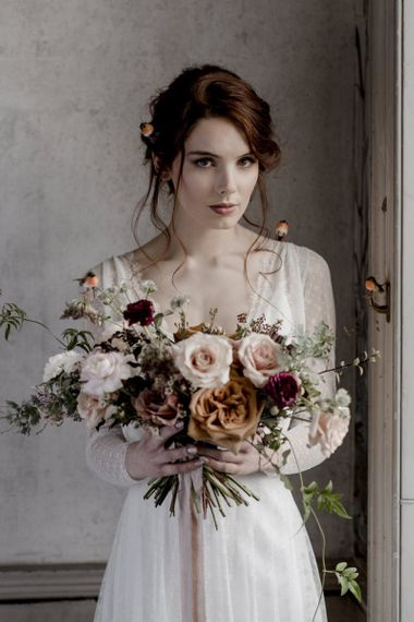 Beautiful Bride with Romantic Wedding Bouquet