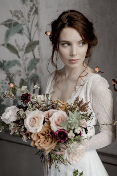 Bride with Natural Makeup Holding a Pale Pink and Orange Rose Wedding Bouquet