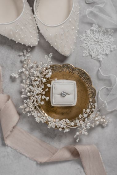 Diamond Engagement Ring in Ivory Ring Box and Hair Vine