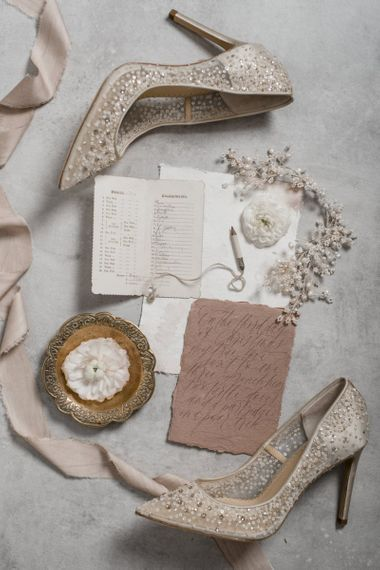 Embellished Wedding Shoes and Bridal Accessories