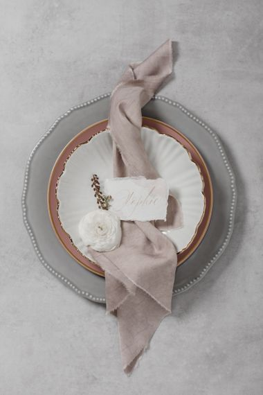 Grey Tableware with Pink Linen Napkin