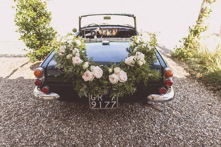 Convertible Wedding Car with Floral Garland Wedding Decor