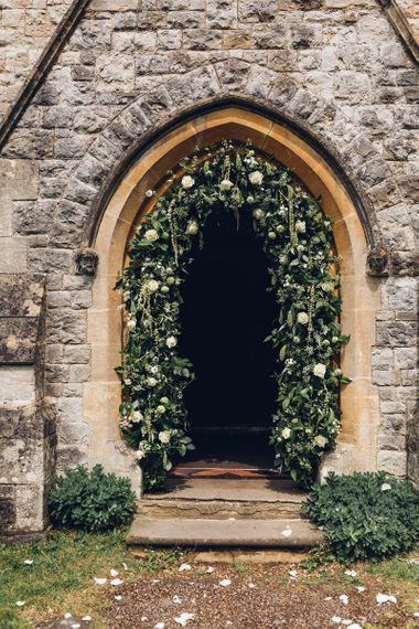 Floral Arch in Church Doorway