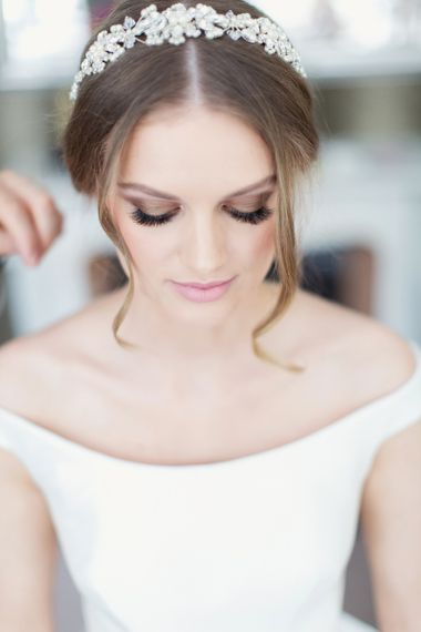 Smokey Bridal Eye Makeup and Long Lashes with Chic Hairstyle and Diamanté Headdress