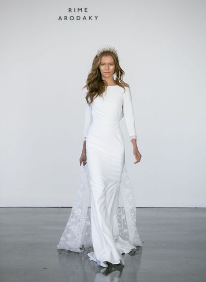 Slim Fitting, Minimalist Wedding Dress with Long Sleeves