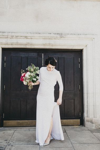 Stylish Bride in Sleek Givenchy Wedding Dress