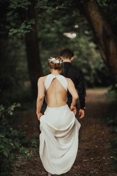 Bride in Keyhole Back Sarah Seven Wedding Dress with Bridal Up Do