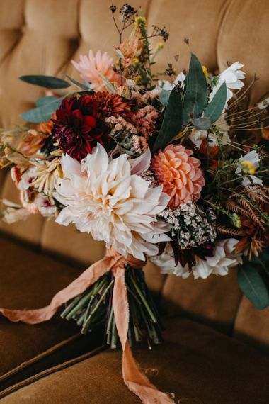 wedding bouquet with dahlias