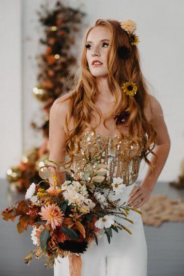 Rust, brown, orange and mustard wedding bouquet