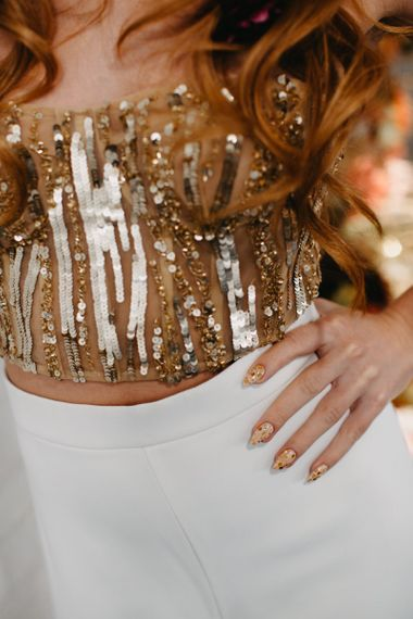 Wedding nails for gold 70s Disco wedding inspiration
